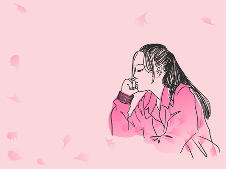 Vector art drawing of woman waiting for somebody on pink background Ilustração