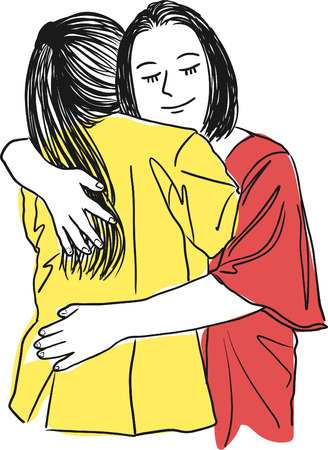 Vector art drawing of mother hugging her teenage daughter,  mothers love on a white background.
