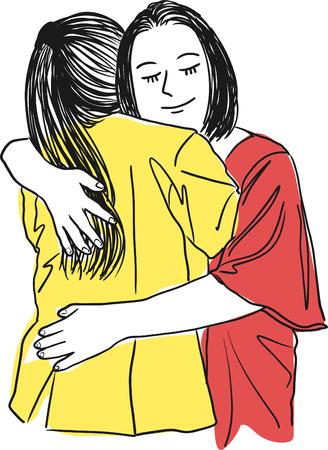 Vector kunst tekening van moeder knuffelen haar tienerdochter, moeder liefde op een witte achtergrond. Vector Illustratie