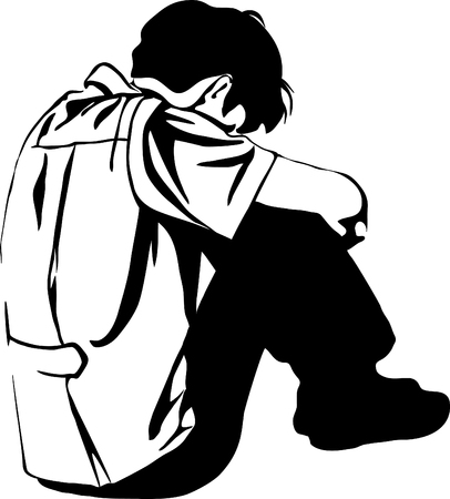Silhouette of man suffering from depression. Illustration