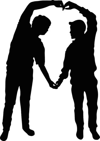 Full length of silhouette vector young couple making heart shape with arms on black background, concept love forever. Ilustração