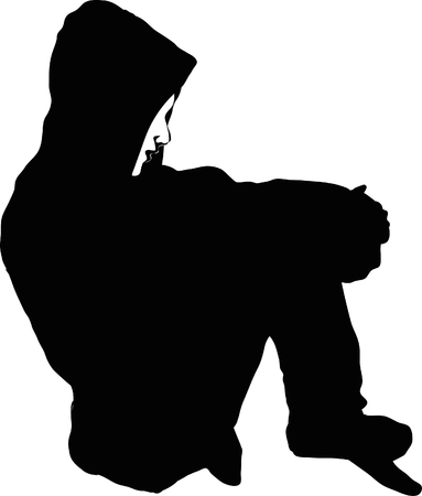 Vector silhouette of Very sad young man sitting alone on white background.