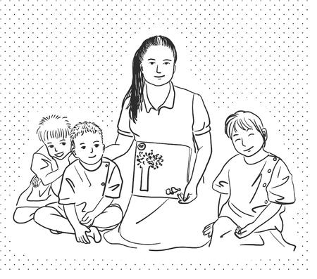 Drawing of teacher and student Ilustração