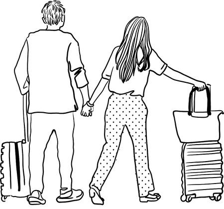 Drawing of young man and woman walking at airport