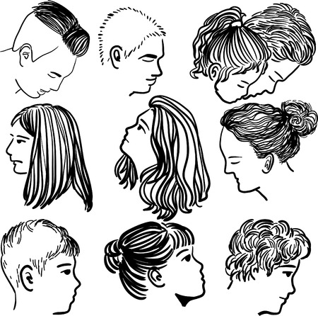 Drawing of Different faces of male and female Ilustração