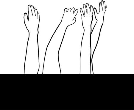 Drawing of helping hands Ilustração