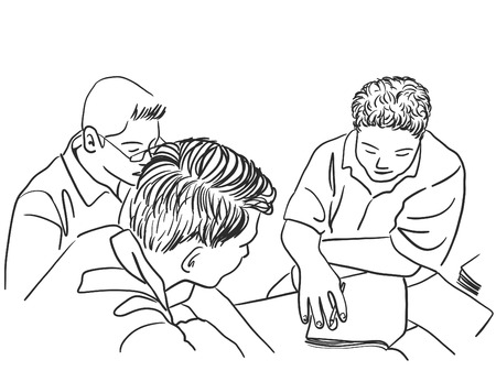 Drawing of group of students reading books