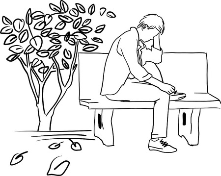 Drawing of very sad man sitting alone illustration