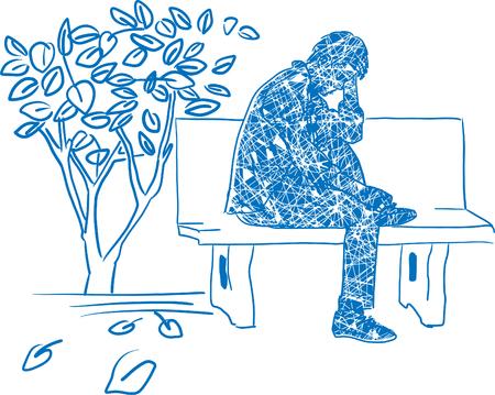 Drawing of Very sad man sitting alone Ilustração