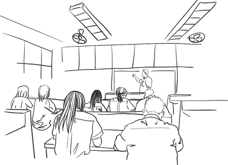 Drawing of adult students in class
