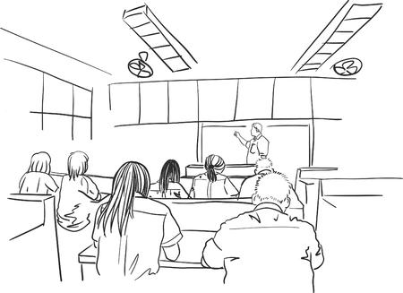 Tekening van volwassen studenten in de klas Vector Illustratie