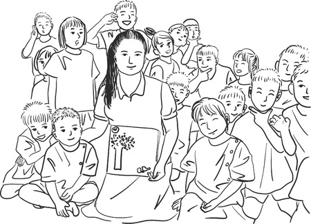 Drawing of teacher and students