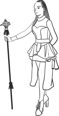 Art drawing of young woman as drum major over white background. Illustration
