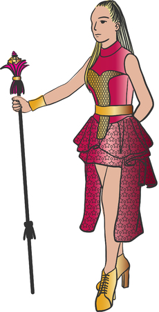Art drawing of young woman qith scepter over white background. Illustration