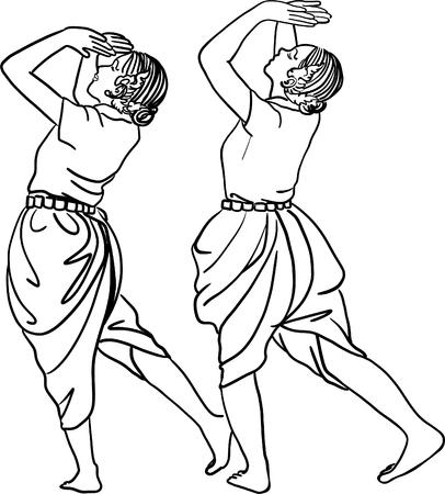 Art drawing of Thailand Dancing art, Thai Classical Dance,(Ram thai) is the main dramatic art form of Thailand. Thai dance, like many forms of traditional Asian dance.