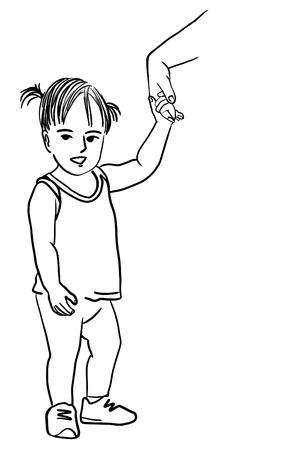 Vector art drawing of a little girl
