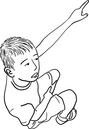 Top view of a Little boy pointing his finger cartoon vector illustration