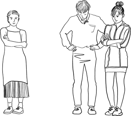 Drawing of a man in between two woman. Young sad women standing with their arms crossed. Love triangle. Difficult choice.
