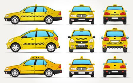 Vettore icona auto taxi da lato, vista anteriore e posteriore