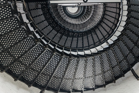 Spiral steel staircase of a lighthouse
