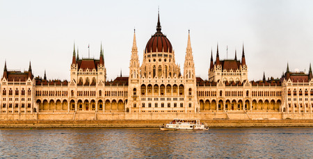 edifices: The view of the Hungarian Parliament Building from the Danube in Budapest, Hungary Stock Photo