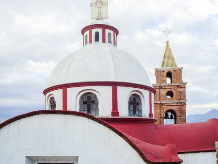 a righteous person: Geometrical shapes of church domes and a staple in Ichupio, Mexico Stock Photo