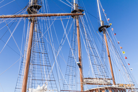 pulleys: The masts and ropes of a tall ships rigging