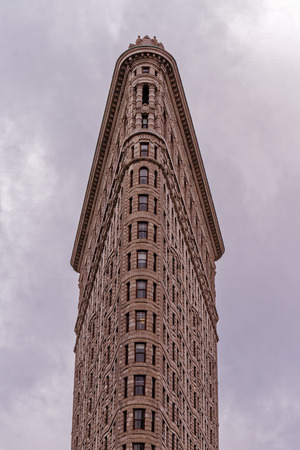 The typical shape of the Flat Iron Building in Manhattan, New York City