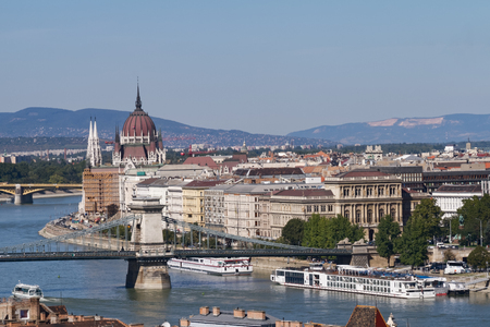building a chain: View of Budapest with the Danube, the Chain Bridge and the Parliament Building Stock Photo