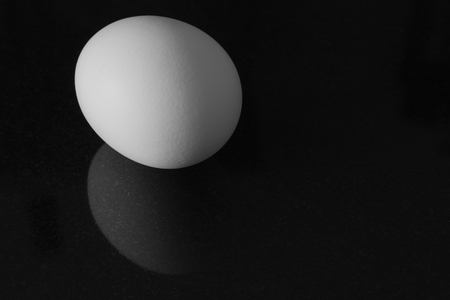 shadowed: An egg on a black, slightly reflective background