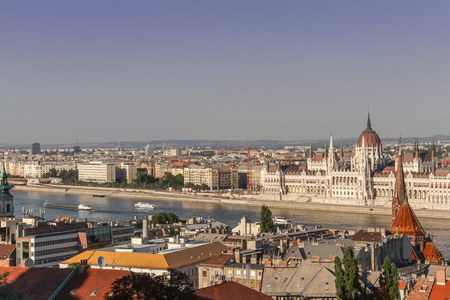 fishermen's: The view of the Parliament Building and the river Danube as seen from the Fishermens Bastion in the Buda Castle district in Budapest, Hungary. Editorial