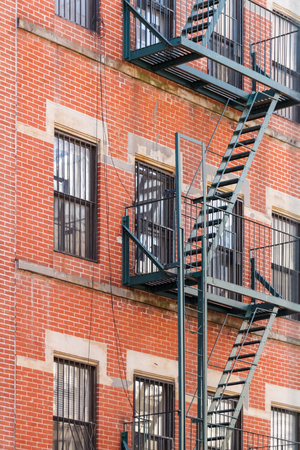 edifices: Typical New York fire escape ladders and balconies