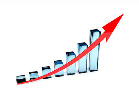 3D illustration with glassy chart and red graph Stock Illustration - 8303765
