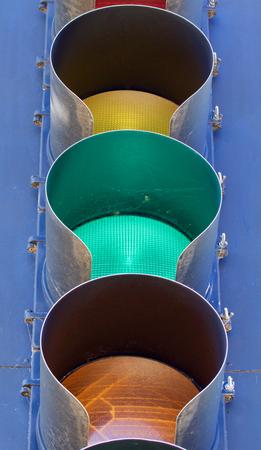 stop and go light: Traffic light closeup Stock Photo