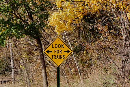 Look for trains warning sign