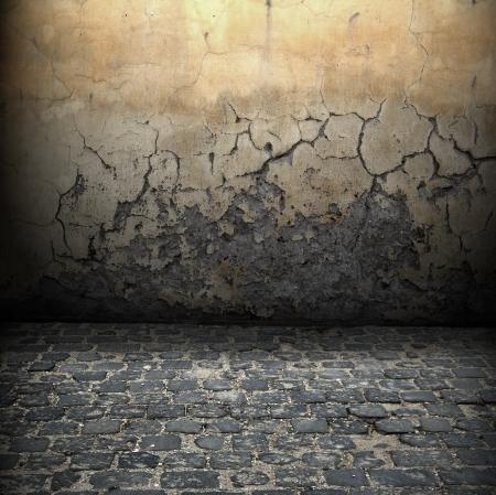 destroyed: Dark Grunge Room Digital Hintergrund f�r Studiofotografen