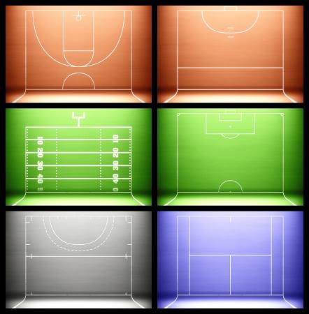 terrain de handball: Fond Sport. Banque d'images