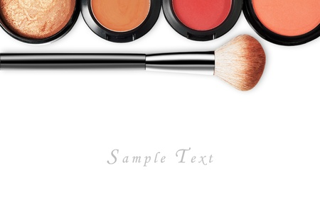 up: makeup set isolated on white background Stock Photo
