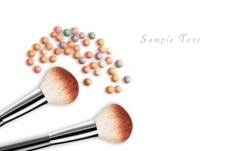 make up artist: makeup set isolated on white background Stock Photo