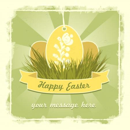 Viejo cl?sico huevos de Pascua con tarjeta tradicional s?mbolo de la flor.