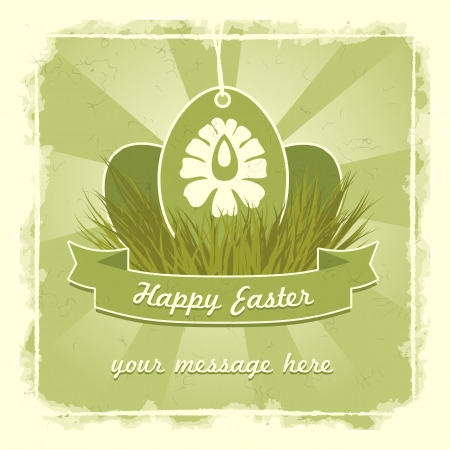 Old classic easter eggs card with traditional flower symbol.