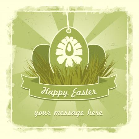 Viejo cl�sico huevos de Pascua con tarjeta tradicional s�mbolo de la flor.