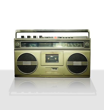 blaster: Vintage stereo player in white background  Stock Photo