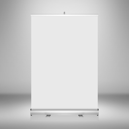 Clear empty photographer studio background with blank roll up banner display  photo