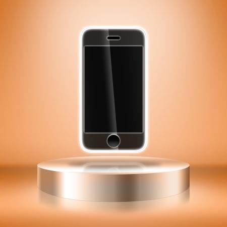 Blank stand de feria con el tel�fono m�vil
