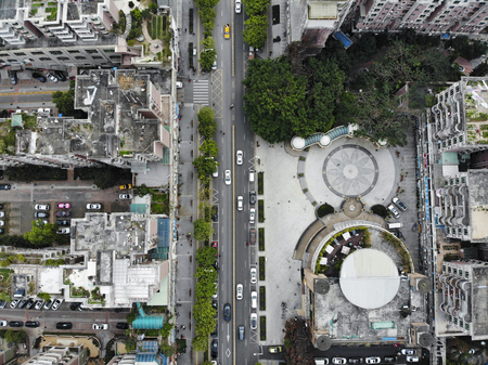 Midair view of Longgang, Shenzhen. 版權商用圖片