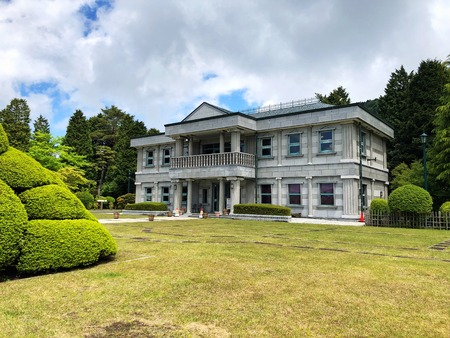 Hakone, Japan, 10th, May, 2018. The Lakeside Observation Building in Onshi Hakone Park. The park was used as a secondary residence for the Imperial Household. Now it has become the most beautiful garden site in Hakone.