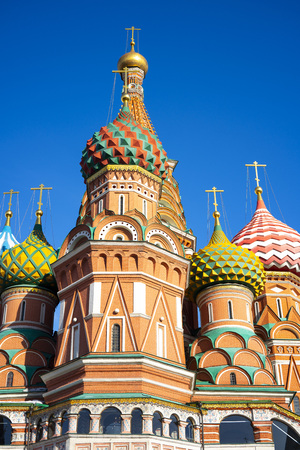 The view of Cathedral of Vasily the Blessed, commonly known as Saint Basil's Cathedral, is a church in Red Square in Moscow, also is one of the most recognizable symbols of the country. 写真素材 - 123163563