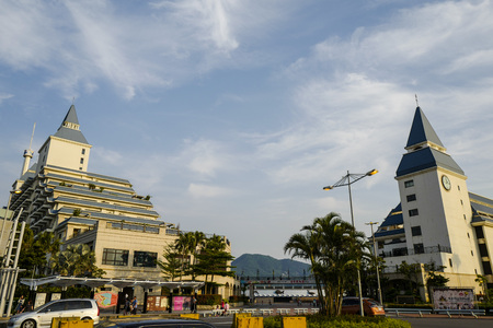 Taipei, Taiwan, 30th, April, 2017: Tamsui Fishermans Wharf in the daytime, is a scenic spot at the western tip of Tamsui District, an important fishing harbor in the early history of north Taiwan.
