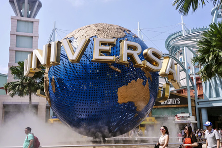 Singapore, 3rd, October, 2015: The Universal Globe. Universal Studios Singapore is a theme park located within Resorts World Sentosa on Sentosa Island, Singapore.